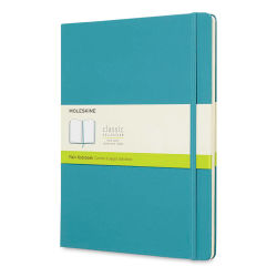 "Moleskine Classic Hardcover Notebook - Reef Blue, Blank, 9-3/4"" x 7-1/2"""