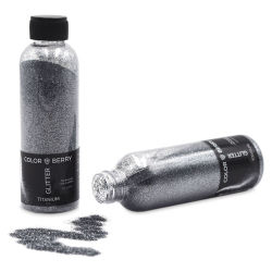 Colorberry Glitter - Titanium, Fine, 90 grams, Bottle (Glitter shown in and out of bottle)