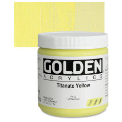 Golden Heavy Body Artist Acrylics - Titanium Yellow, 8 oz Jar