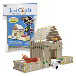 Pepperell Just Clip It Build Sticks Barnyard House Kit