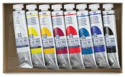 Royal Talens Gouache - Set of 8 colors, 20 ml tubes