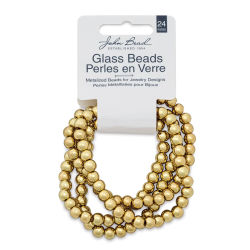 John Bead Metalized Glass Beads - Gold, 6 mm, 24'' Strand