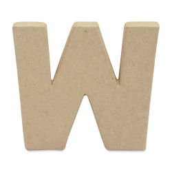 "DecoPatch Paper Mache Small Kraft Letter - W, Lowercase, 4"" W x 3-2/5"" H x 1/2"" D"