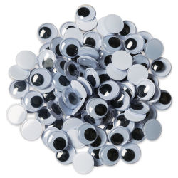 Creativity Street Wiggle Eyes - Black, 12 mm, Round, Package of 100