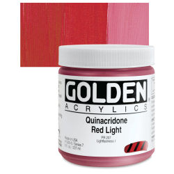 Golden Heavy Body Artist Acrylics - Quinacridone Red Light, 8 oz