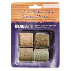Beadsmith S-Lon Cord Pack - Pkg of 4, Warm Neutrals