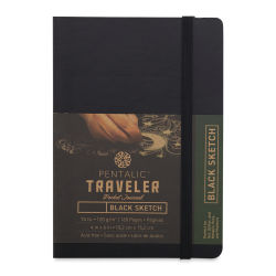Pentalic Traveler Draw Pocket Journal - 6'' x 4'', Black Paper, Black Cover, 160 pages