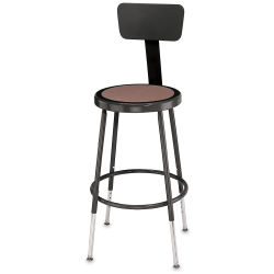 National Public Seating Corp Adjustable Stool with Backrest - Black