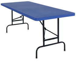 Adjustable Height Folding Table, Blue
