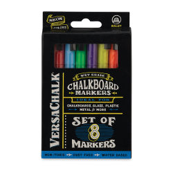 VersaChalk Liquid Chalk Markers - Set of 8, Neon Colors, Fine