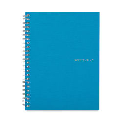 Fabriano EcoQua Notebook - 8.25'' × 5.8'', Grid, Spiralbound, Aqua