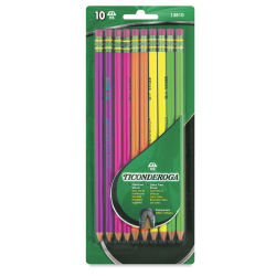 Dixon Ticonderoga Pencils - Neon, Pkg of 10, Pre-Sharpened