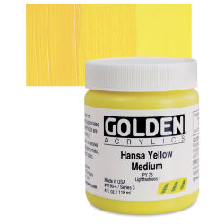 Golden Heavy Body Artist Acrylics - Hansa Yellow Medium, 4 oz Jar