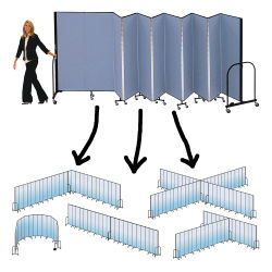 Screenflex Portable Room Dividers - 6 ft x 20.5 ft, Gray, 11 Panel