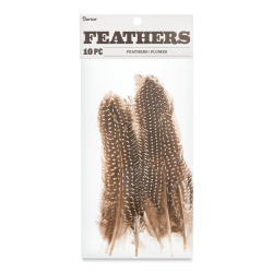 Darice Guinea Feathers - Quills, Natural Colors, 10 pieces