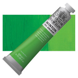 Winsor & Newton Winton Oil Color - Phthalo Yellow Green, 200 ml, Tube with Swatch