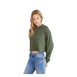 Bella + Canvas Cropped Fleece Hoodie - Military Green, Size Large