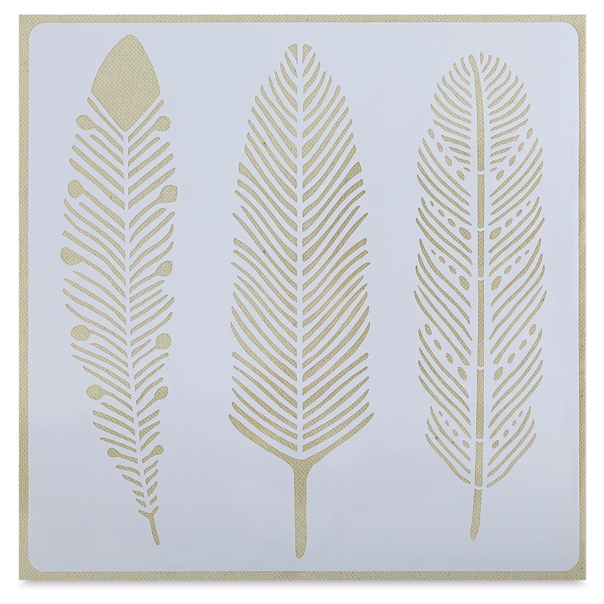 Momenta 3 Feathers Adhesive Fabric Stencil