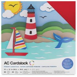 AC Cardstock Papers - 12'' x 12'', 60 Sheets, Primary Colors