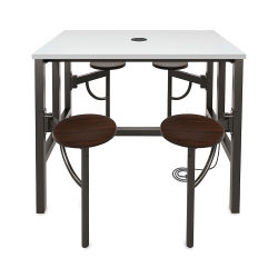 OFM Endure Tables with Attached Stools - 4 Seats, Dry-Erase Top, Walnut Seats, 48''L