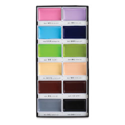 Kuretake Gansai Tambi Watercolor -Set of 12, Pastel Matte Colors, Pans. In package.