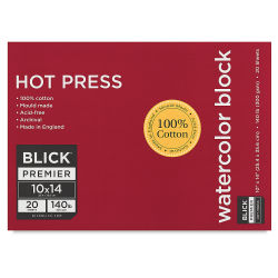 Blick Premier Watercolor Block - 10'' x 14'', Hot Press, 140 lb, 20 Sheets