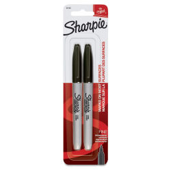 Sharpie Fine Point Permanent Markers - Black, Pkg of 2. Package front of two markers.