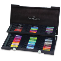 Faber-Castell Pitt Artist Pen-Wooden Gift Box Set of 90. Box open, two trays of colors and nibs.