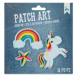 Momenta Iron-On Patch Art - Pkg of 3, Unicorn, Rainbow, Star
