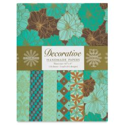 Shizen Decorative Paper - 8-1/2'' x 11'', Cocoa/Teal