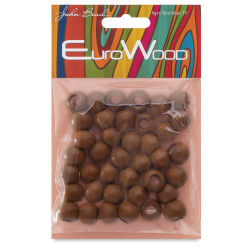 John Bead Euro Wood Beads - Coffee, Round, Large Hole, 12 mm x 9.8 mm, Pkg of 40