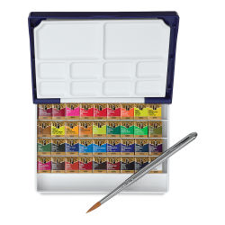 Holbein Artists' Watercolor Half Pans - Set of 36, Assorted Colors