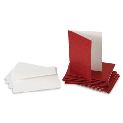 Paper Accents Glitter Card and Envelope Set - Red, Pkg of 12