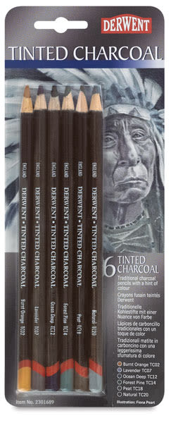 Derwent Tinted Charcoal Pencil Set - Blister Pack, Set of 6