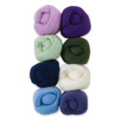 Wistyria Editions 100% Wool Roving - Hydrangeas, Pkg of 8