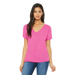 Bella + Canvas Slouchy V-neck Tee - Berry, Small
