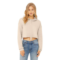 Bella + Canvas Cropped Fleece Hoodie - Heather Dust, Size Small