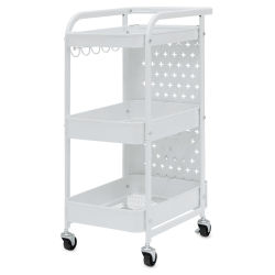 "Studio Designs Streamline 3 Tier Cart - White, 13""W x 18-1/2""D x 30""H, Front"