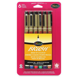 Sakura Pigma Brush Marker - Set of 6, Assorted