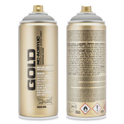 Montana Gold Acrylic Professional Spray Paint - Asphalt, 400 ml (Front and back of spray can)