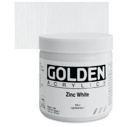 Golden Heavy Body Artist Acrylics - Zinc White, 16 oz Jar