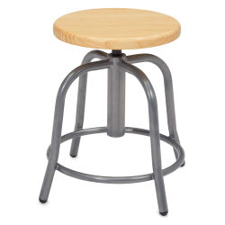 National Public Seating Designer Swivel Stool - Grey Frame/Wood Seat