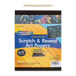 "Now You See It! Art Paper - Color Splash, 8-1/2"" x 11"", Package of 30 Sheets (In packaging, pictured with etching stick)"