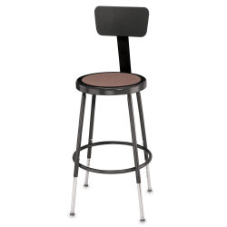 National Public Seating Corp Adjustable Stool with Backrest - Black, 25'' to 33''