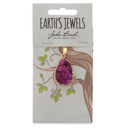 John Bead Earth's Jewels Semi-Precious Pendant - Fuchsia, 21 mm
