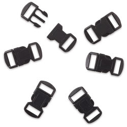 John Bead Craft Paracord Buckles - Black, 12 mm, Set of 6