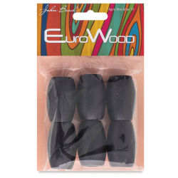 John Bead Euro Wood Beads - Black, Oval, Large Hole, 22 mm x 33 mm, Pkg of 6