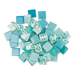 Mosaic Mercantile Patchwork Tiles - Light Blue/Teal, 1 lb