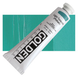 Golden Heavy Body Artist Acrylics - Light Turquoise (Phthalo), 2 oz Tube