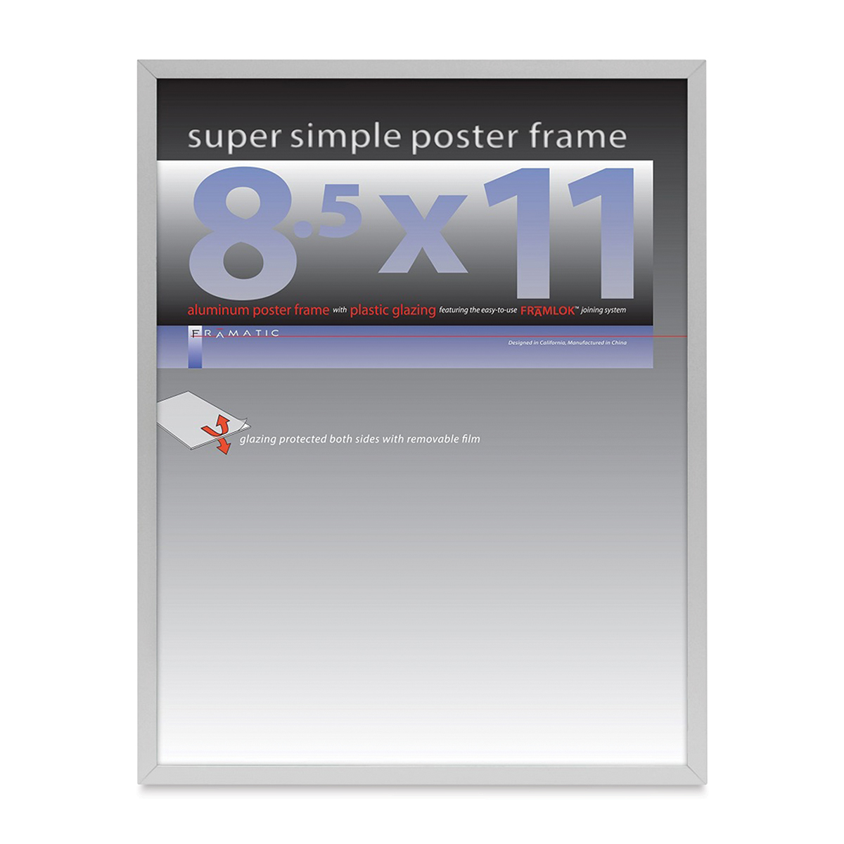 Framatic Super Simple Poster Frame - Silver, 8-1/2 x 11
